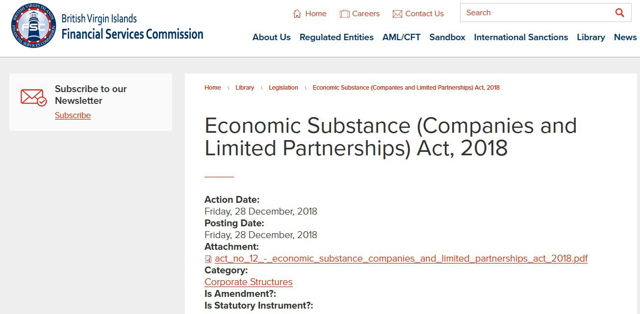 BVI Economic Substance Act, 2018