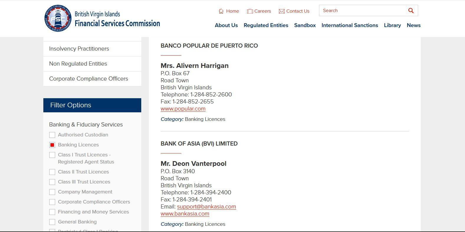Скриншот с сайта BVI Financial Services Commission, раздел «Regulated Entities»