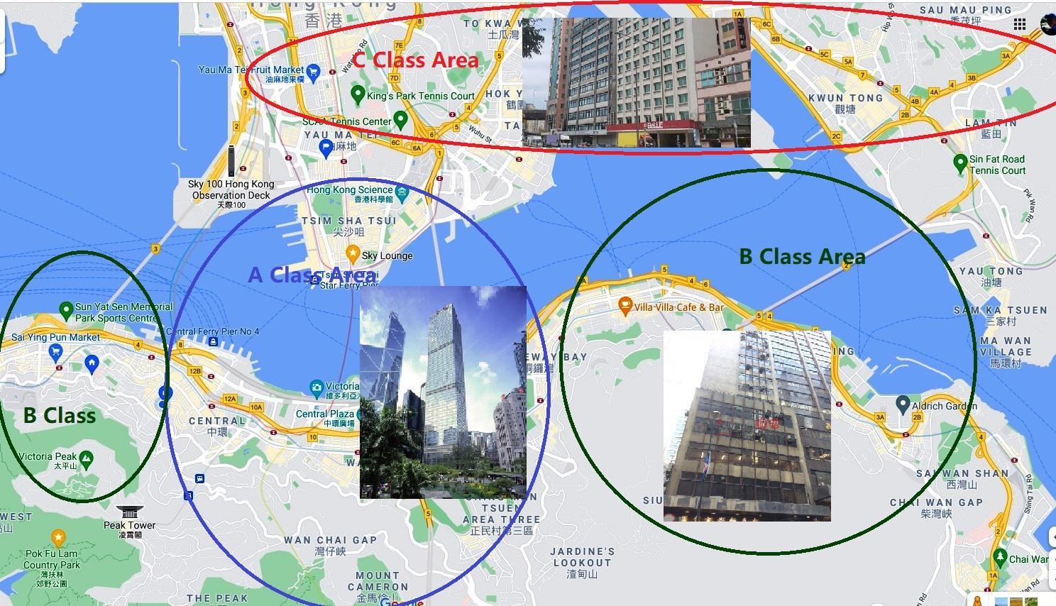 карта острова Гонконг (Центр) и Коулун с категориями класса офисных помещений