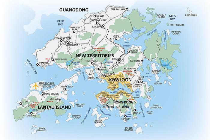 Расположение на карте: остров Гонконг(Центр), Западный Коулун, Новые Территории